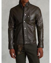 John Varvatos | Green Short Leather Jacket for Men | Lyst