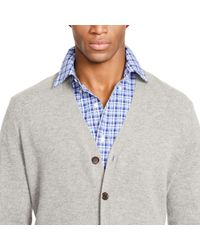 Polo Ralph Lauren - Gray Suede-patch Wool Cardigan for Men - Lyst