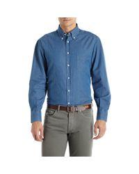 Brunello Cucinelli - Blue Chambray Shirt for Men - Lyst