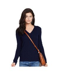 Polo Ralph Lauren | Blue Cabled Cashmere V-neck Sweater | Lyst