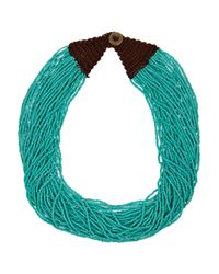 Kenneth Jay Lane | Blue Multi-strand Seed Bead Necklace | Lyst