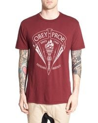 Obey - Red 'propaganda Awareness Torch' Graphic Crewneck T-shirt for Men - Lyst