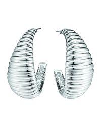 John Hardy - Metallic Bedeg Silver Medium Wide Hoop Earrings - Lyst