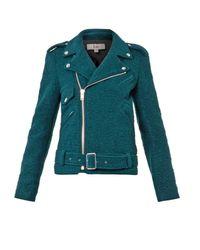 Rika Green Irena Boiled-Wool Biker Jacket