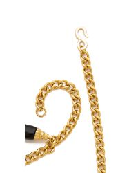 Kenneth Jay Lane - Metallic Coin & Tusk Charm Necklace - Gold/black - Lyst