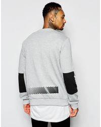 Criminal Damage - Gray Sweatshirt With Block Print for Men - Lyst