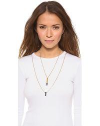 Serefina - Metallic Double Layer Onyx Necklace - Lyst