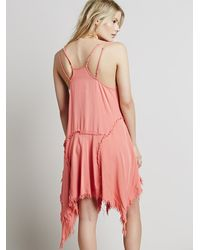 Free People | Pink Fp Collection Womens Shredded Rayon Slip | Lyst