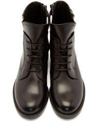 Lanvin - Black Lace_up Biker Boots - Lyst