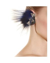 Fendi Blue Embellished Fox Fur Ear Cuff