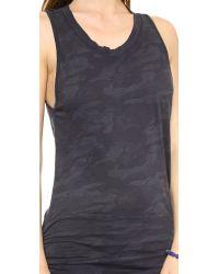 Monrow Blue Camo Print Shirred Dress - Vintage Black
