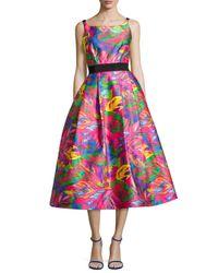 MILLY - Multicolor Sleeveless Tropical-printed Full-skirt Dress - Lyst