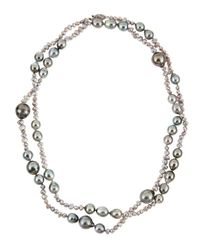 Belpearl | Freshwater Keshi Tahitian Pearl Long Necklace Gray | Lyst