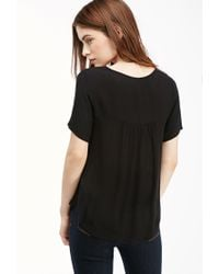Forever 21 - Black Embroidered Peasant Top - Lyst