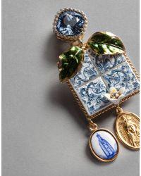 Dolce & Gabbana - Blue Majolica Drop Earrings - Lyst