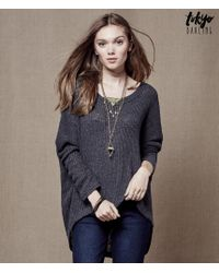 Tokyo Darling | Gray Sheer Oversized Dolman Sweater | Lyst