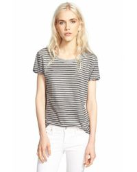 James Perse | Gray Classic Stripe Tee | Lyst