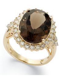 Macy's - Metallic 14k Gold Ring, Smokey Topaz (12 Ct. T.w.) And Diamond (9/10 Ct. T.w.) Ring - Lyst