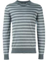 Dolce & Gabbana - Gray Fine Knit Striped Jumper for Men - Lyst