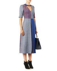 ROKSANDA Gray Layne Patchwork Herringbone Dress