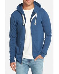 Threads For Thought Blue Trim Fit Heathered Hoodie for men