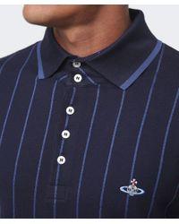 Vivienne Westwood - Blue Contrast Stripe Polo Shirt for Men - Lyst