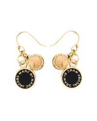 Marc By Marc Jacobs | Black Logo Disk Earrings | Lyst