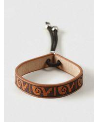 TOPMAN - Brown Printed Leather Bracelet* for Men - Lyst