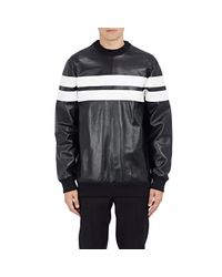 Givenchy - Black Men's Leather & Neoprene Sweatshirt - Lyst