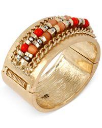 Kenneth Cole - Orange Gold-tone Mixed Bead Chain Hinged Bangle Bracelet - Lyst