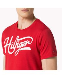 Tommy Hilfiger Red Cotton Jersey Crew Neck T-shirt for men