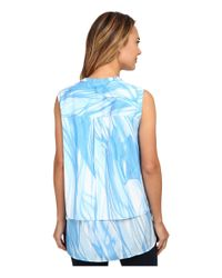 Calvin Klein | Blue Printed Double Layer Button Front | Lyst