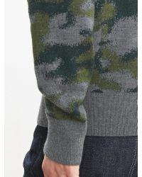 Banana Republic | Green Camo Crew Sweater Pullover | Lyst