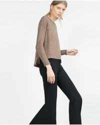 Zara | Brown Open Work Sweater | Lyst