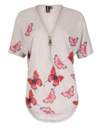 Izabel London | Natural Butterfly Zip Detail Top | Lyst