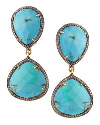 Bavna | Blue Turquoise Diamond Earrings | Lyst