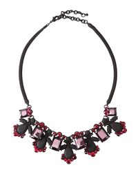 Fragments - Pink Rubber-coated Crystal Bib Necklace - Lyst