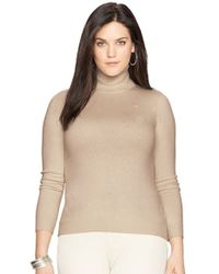 Lauren by Ralph Lauren - Brown Silk Blend Turtleneck - Lyst