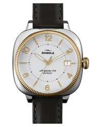 Shinola - Black 'gomelsky' Square Leather Strap Watch - Lyst