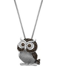 Lord & Taylor | Black Sterling Silver Smokey Quartz Owl Pendant Necklace | Lyst
