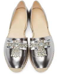 Jimmy Choo | Metallic Silver Leather Bejeweled Damask Espadrilles | Lyst