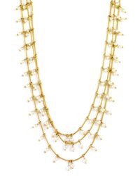 Anne Klein | Metallic Triple Gold Tone Pearl Necklace | Lyst