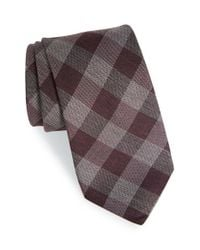John Varvatos | Purple Check Tie for Men | Lyst