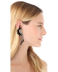 Elizabeth Cole | Black Fringe Mohawk Earrings - Jet | Lyst