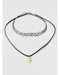 LAC - Black Tattoo And Suede Choker 2 Pack for Men - Lyst