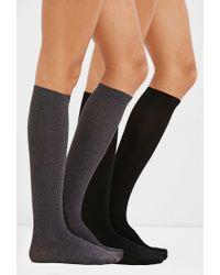 Forever 21   Black Knee-high Socks - 2 Pack   Lyst