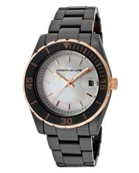 Kenneth Jay Lane - 3000 Ceramic Series Black Ceramic Mother Of Pearl Dial - Lyst