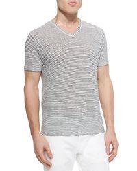 Vince - Gray Linen Stripe V-neck Tee for Men - Lyst