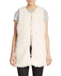 Saks Fifth Avenue | White Shaggy Faux Fur Vest | Lyst