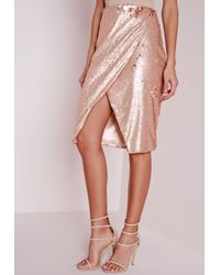 Missguided Natural Sequin Wrap Midi Skirt Nude